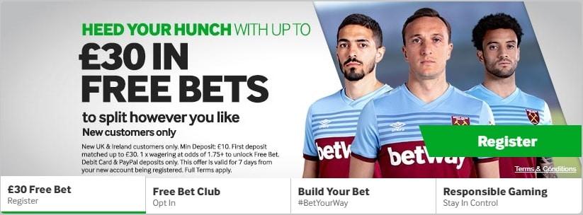 betway Bonus 30 free bets